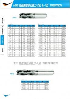 HSS高速鋼標準刃銑刀-2刃&4刃 116