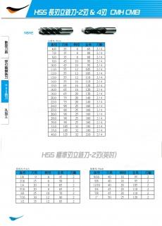 HSS長刃立銑刀-2刃&4刃 114